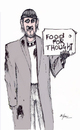 Cartoon: Food for thought (small) by optimystical tagged homeless,signs,vagabond,message