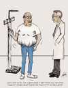 Cartoon: Over weight? Not me! (small) by optimystical tagged weight,denial,fat,obese,doctor,advice
