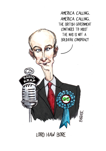Cartoon: Lord Haw Bore (medium) by barker tagged daniel,hannan,mep,healthcare,tory,nhs,cartoon,caricature,daniel hannan,gesunheitsreform,gesundheit,republikaner,politiker,daniel,hannan