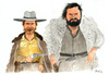 Cartoon: Terence Hill und Bud Spencer (small) by Mario Schuster tagged karikatur,cartoon,mario,schuster,terence,hill,bud,spencer,italo,western