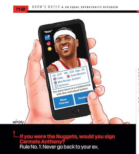 Cartoon: Carmelo Anthony Decline (medium) by karlwimer tagged carmelo,anthony,denver,nuggets,nba,basketball,washed,up,free,agent