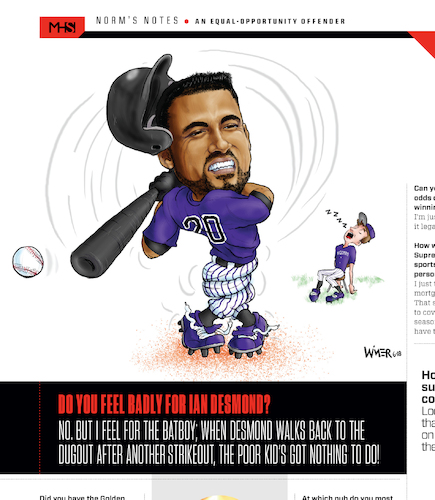 Cartoon: Ian Desmond Twisted Up (medium) by karlwimer tagged baseball,colorado,rockies,ian,desmond,strikeout