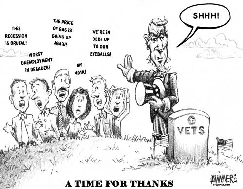 Cartoon: Memorial Day 09 (medium) by karlwimer tagged us,uncle,sam,memorial,day,veterans,economy,recession,debt,unemployment