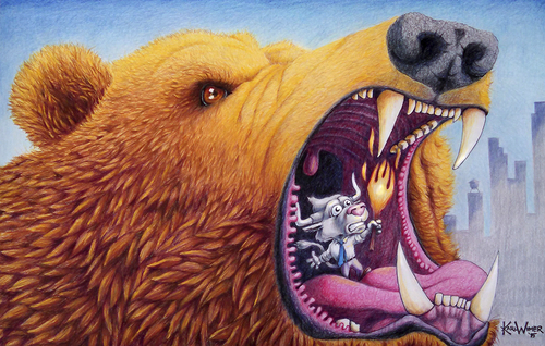 Cartoon: Mouth of Bear (medium) by karlwimer tagged bear,bull,stocks,stockmarket,cave,market
