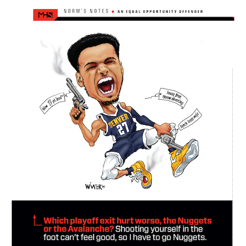Cartoon: Nuggets Shoot Own Feet (medium) by karlwimer tagged basketball,denver,nuggets,jamal,murray,nba,playoffs,shoot,foot