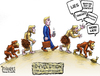 Cartoon: Devolution (small) by karlwimer tagged evolution devolution darwin poltiics politician government usa monkey lies smears attacks election