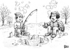 Cartoon: Ice Fishing Cartoon Contest (small) by karlwimer tagged bowtie,ice,fishing,cold,winter,sharks,fish,anglers
