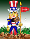 Cartoon: Nutcracker Sam (small) by karlwimer tagged nutcracker,uncle,sam,business,economy,economics,usa,walnut,employment,unemployment,hiring,christmas