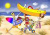 Cartoon: Familienurlaub (small) by droigks tagged sonne,sand,wind,meer,strand,familie,boot,surfbrett,vater,mutter,kind,hund,droigk,droigks