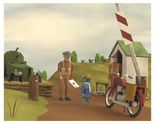 Cartoon: Deliver (medium) by birdbee tagged deliver,3d,lowpoly,checkpoint,war,motorcycle,dog,messenger