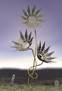 Cartoon: x-acto flowers (small) by birdbee tagged 3d,model,xacto,knife,blades,flowers