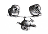 Cartoon: Tightrope Walk - Hochseilakt (small) by Stefan Kahlhammer tagged eule,eulen,ironie,ironical,art,kahlhammer,owls,owl,kauz,tusche,fogey,seil,hochseil