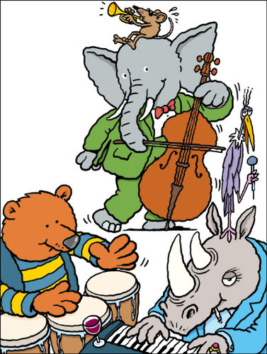 Cartoon: Jazz zoo (medium) by Ellis Nadler tagged zoo,animal,elephant,bear,rhino,bird,rat,piano,music,jazz,congas,drum,bass,trumpet,singer,horn