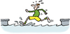 Cartoon: Running on water (small) by Ellis Nadler tagged run,runner,miracle,water,canal,river,sport,fool,speed