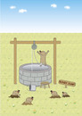 Cartoon: bungy jump (small) by joruju piroshiki tagged bungy,jump,mole,moles,well,animal,water,bungee