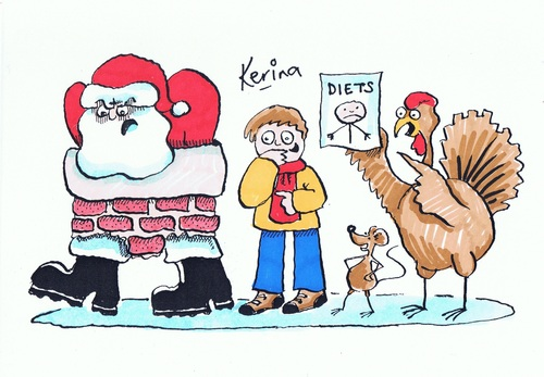 Cartoon: Happy Christmas 2012 (medium) by Kerina Strevens tagged father,christmas,santa,turkey,xmas,diet,chimney
