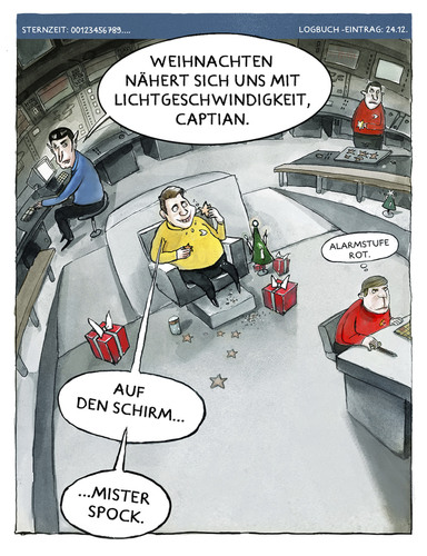 Cartoon: Sternzeit 24122012 (medium) by markus-grolik tagged galaxie,cartoon,vorweihnachtszeit,milchstrasse,erde,startreck,xmas,scifi,crew,grolik,zimtstern,plaetzchen,gebaeck,kekse,keks,adventszeit,fiction,science,weltall,captian,kirk,enterprise,raumschiff