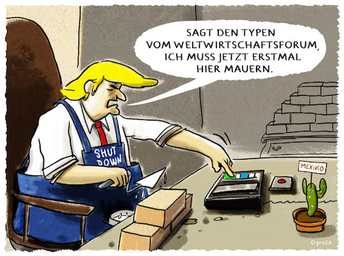 Cartoon: ...Davos... (medium) by markus-grolik tagged wef,weltwirtschaftsforum,davos,donald,trump,usa,us,grenze,shutdown,mauer,mexiko,europa,china,wef,weltwirtschaftsforum,davos,donald,trump,usa,us,grenze,shutdown,mauer,mexiko,europa,china