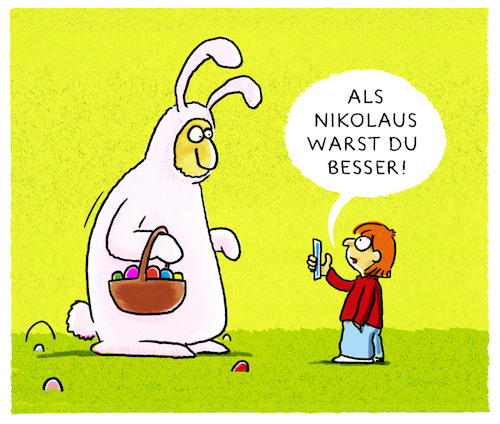 Cartoon: Frohe Ostern! (medium) by markus-grolik tagged ostern,osterhase,familie,vater,sohn,kind,ferien,nikolaus,handy,foto,video,tradition,ostern,osterhase,familie,vater,sohn,kind,ferien,nikolaus,handy,foto,video,tradition