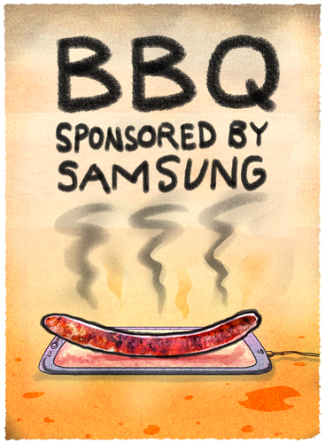 Cartoon: Grillparty (medium) by markus-grolik tagged samsung,akku,note,galaxy,smartphone,explosionsgefahr,korea,apple,bbq,würstchen,technik,würstel,grillwürstel,sommergrolik,samsung,akku,note,galaxy,smartphone,explosionsgefahr,korea,apple,bbq,würstchen,technik,würstel,grillwürstel,sommergrolik