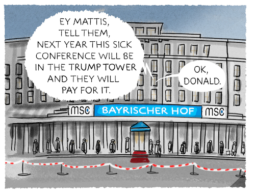 Cartoon: Sicherheitskonferenz (medium) by markus-grolik tagged trump,donald,nato,eu,von,der,leyen,james,mattis,usa,trumptower,trump,donald,nato,eu,von,der,leyen,james,mattis,usa,trumptower