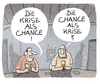 Cartoon: Dauerkrise (small) by markus-grolik tagged krise,cahnce,flüchtlingskrise,krisentalk,pessimismus,optimismus,cartoon,grolik