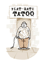 Cartoon: Flat-Rate-Tatoo (small) by markus-grolik tagged tatoo,flat,rate,billig,kunst,kunstwerk,machwerk,haut,tätowierung,zeitgeist,tätowieren