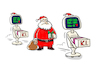 Cartoon: X-Mas-Bots! (small) by markus-grolik tagged nikolaus,ki,künstliche,intelligenz,automatisierung,weihnacht,advent,digital,analog,santa,claus,xmas,geschenke,konsum,paket,paketservice,dhl,online,amazon,last,chrismas,wham,google