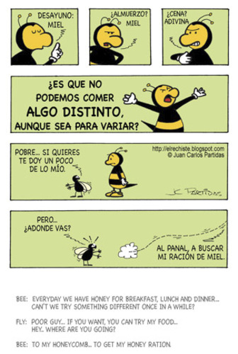 Cartoon: Boring menu (medium) by Juan Carlos Partidas tagged food,fly,boring,menu,honey,bee