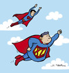Cartoon: Super (small) by Juan Carlos Partidas tagged super superman superhero superheroe hombre acero man steel movie comic comics character size talla extra xl large suit traje logo sign signo clark kent kalel fly flying sky