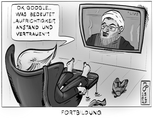 Cartoon: Fortbildung (medium) by Justen tagged trump,rouhani,usa,iran,google,flugzeugabsturz,trump,rouhani,usa,iran,google,flugzeugabsturz