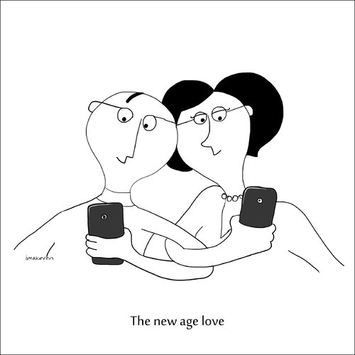 Cartoon: the new age love (medium) by imakeren tagged illustrators