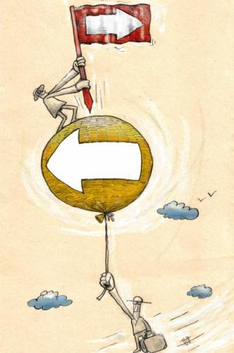 Cartoon: go to my direction or...! (medium) by Mohsen Zarifian tagged left,right,ballon,flying,sky,clouds,politic