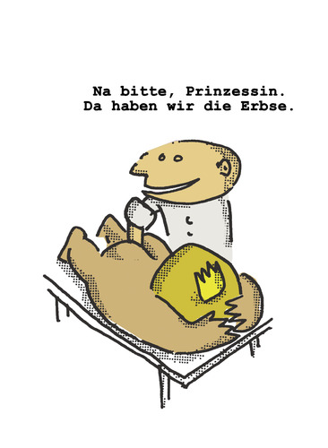 Cartoon: Prinzessin mit der Erbse (medium) by Ludwig tagged prinzessin,erbse,princess,pea