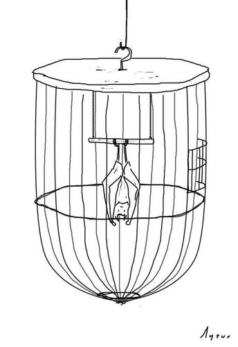 Cartoon: bat in the cage (medium) by aytrshnby tagged bat,in,the,cage