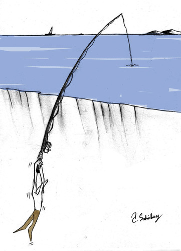 Cartoon: fisherman (medium) by aytrshnby tagged fisherman