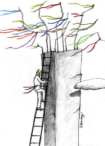 Cartoon: wish tree 2 (medium) by aytrshnby tagged wish,tree