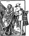 Cartoon: Death and Dealer (small) by Anjo tagged death dealer tod händler dürer uhr clock lebenszeit ende end