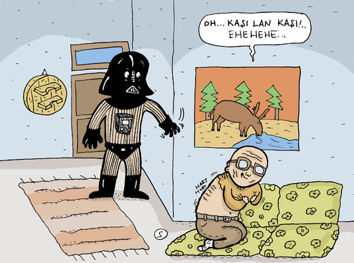 Cartoon: Dark Vader and Grandfather (medium) by Musluk tagged darkvader,scratch