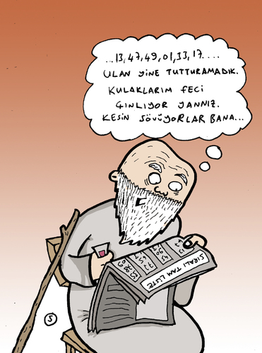 Cartoon: White Beard Grandpa (medium) by Musluk tagged grandpa,lottery