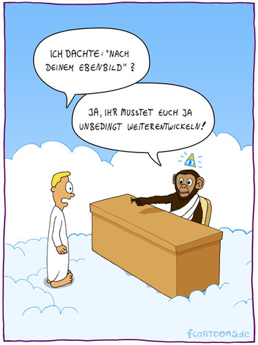 Cartoon: Gottes Ebenbild (medium) by fcartoons tagged gottes,ebenbild,schimpanse,affe,evolution,engel,schreibtisch,wolken