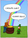 Cartoon: economy crisis (small) by fcartoons tagged economy,crisis,leprechaun,ireland,rainbow,pot,gold,wirtschaft,krise,regenbogen,kleeblatt,topf,schokolade