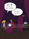 Cartoon: fortune teller (small) by fcartoons tagged soothsayer,fortune,teller,augur,facebook,girl,teenager,blond,happy,curtain,dark,laptop,netbook,macbook,sphere,woman,scary,mädchen,funny,cartoon