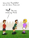 Cartoon: Frauenfußball (small) by fcartoons tagged frauenfußball,schiri,schiedsrichter,blond,hübsch,unfair,fair,pfeife,fußball,cartoon,comic,lustig,pretty