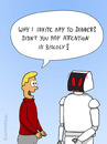 Cartoon: STUPID QUESTION (small) by fcartoons tagged ask,cartoon,date,dinner,question,robot,story,tell,invite