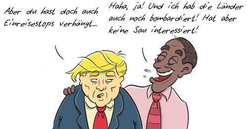 Cartoon: Trump Obama 2 (medium) by Rob tagged donald,trump,barack,obama,muslim,ban,einreise,immigration,stop,black,president,präsident,us,usa,amerika,america