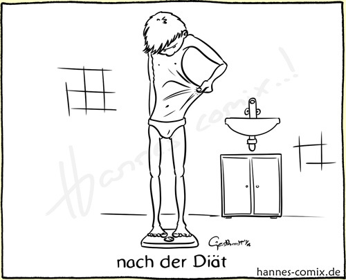 Cartoon: nach der Diät (medium) by Hannes tagged diät,diet,gesundheit,health,haut,skin,inktober