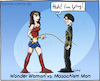 Cartoon: Wonder Woman vs. Masochism Man (small) by Hannes tagged wonderwoman,masochism,pain,sadomaso,hero