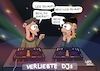 Cartoon: Verliebte DJs (small) by LAHS tagged dj,disc,jockey,verliebt,telefon,auflegen