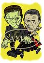 Cartoon: Karloff and Lugosi (small) by Marty Street tagged frankenstein dracula
